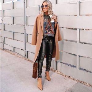 NWT Spanx Black Leather Like Skinny Pants Blogger